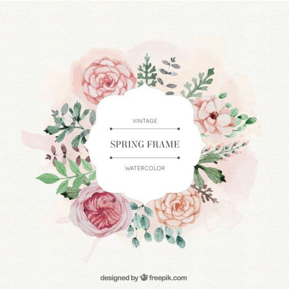 rosas da aguarela e deixa o frame spring Vetor grátis