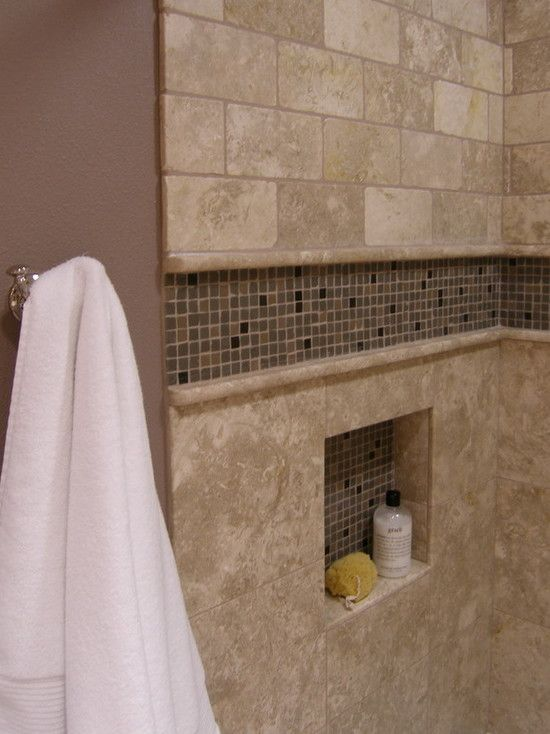 Shower Tile Boring Ish Tile But The Different Sizes And The Accents Give It Some Added Appeal