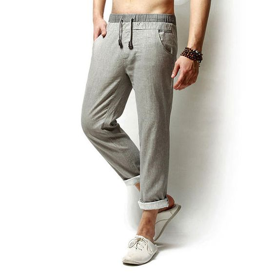 Men Long Trousers Flax Leisure Pants at Banggood