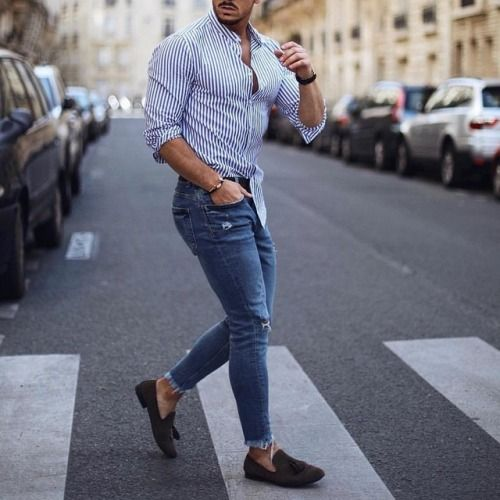 tassel loafer on jeans and shirt
