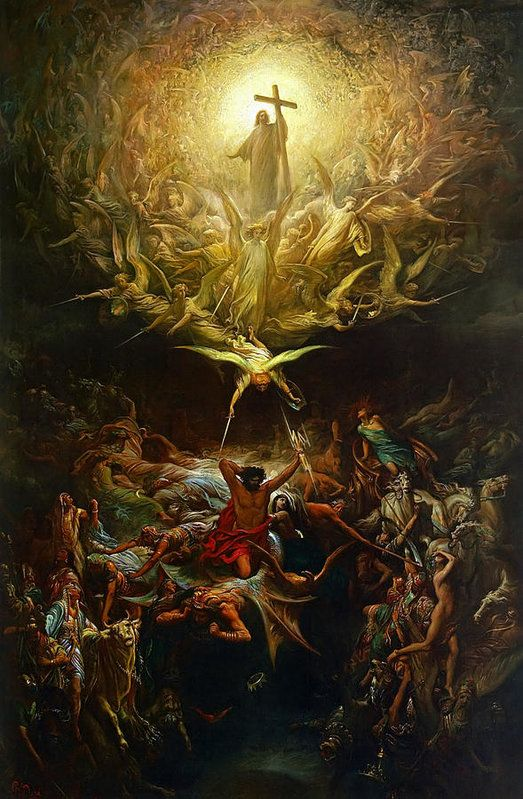 Gustave Dore Print featuring the painting Triumph Of Christianity by Gustave Dore