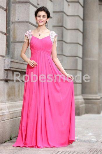Robe de bal de promo fuchsia romantique décoration perlée plein longueur