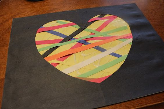 construction paper crafts mosaic  -could let them choose their own shape for the black paper on top