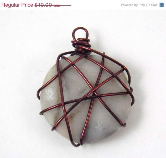 ON SALE Brown and Tan Wire Wrapped Pendant by EclecticHappiness, $6.50