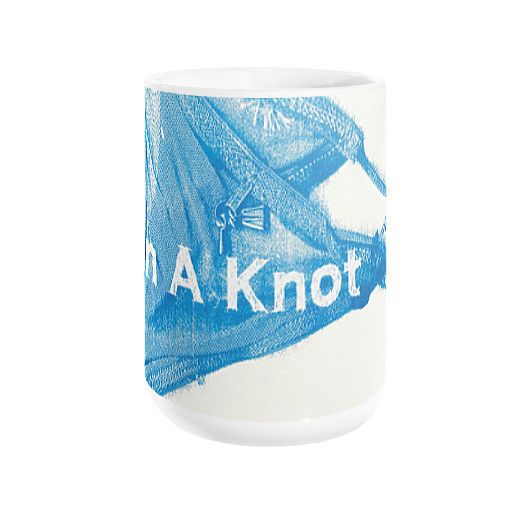 Proudly in a knot. It's legitimately awesome to get wound up over what matters. This premium mug is made of a durable white ceramic. It is dishwasher and microwave safe. Made in USA.
