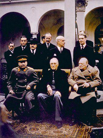 Amazon.com: The Yalta Conference, Joseph Stalin, Franklin D. Roosevelt, Winston Churchill, February, 1945 Premium Poster Print, 12x16: Home & Kitchen