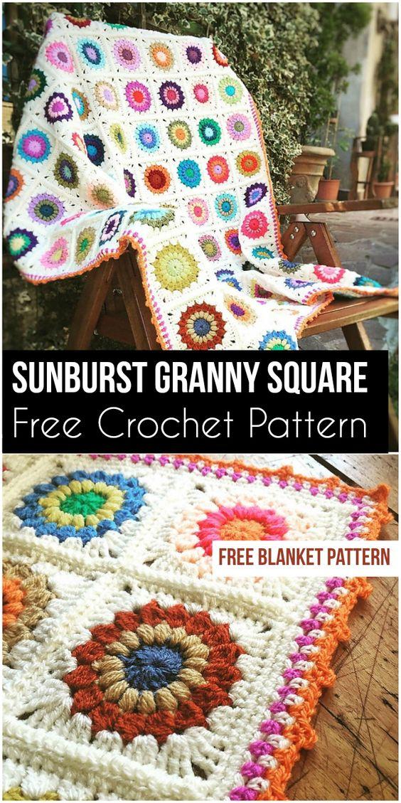 Sunburst Granny Square Blanket [Free Crochet Pattern] #summer #sun #crochetpattern #crochet #GrannySquare #freecrochetpatterns #gardendecoridea #craft