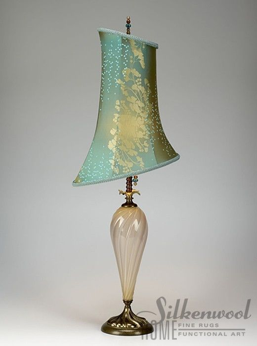 kinzig table lamp with silk shade hand blown glass base kinzig lighting artisan blown glass lamps
