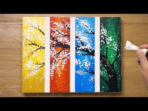 4 Piece Painting Cherry Blossom Tree Cotton Swabs Painting Technique 437 Youtube Diy Abstract Canvas Art Acrylic Painting Trees Painting