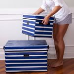 Bungalow Collapsible File Tote-Blue Stripe - See Jane Work