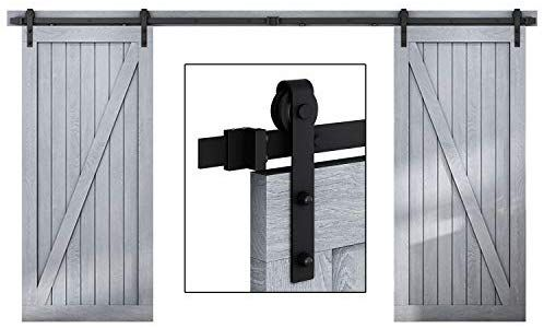 Easelife 12 Ft Double Door Sliding Barn Door Hardware Kit Heavy Duty Ultra Hard Sturdy Easy Instal Door Kits Sliding Barn Door Hardware Sliding Barn Door
