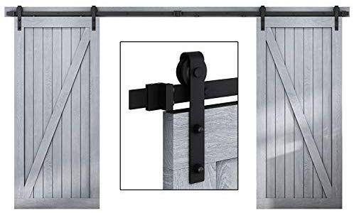 Easelife 12 Ft Double Door Sliding Barn Door Hardware Kit Heavy Duty Ultra Hard Sturdy Easy Instal Door Kits Sliding Barn Door Hardware Sliding Barn Door