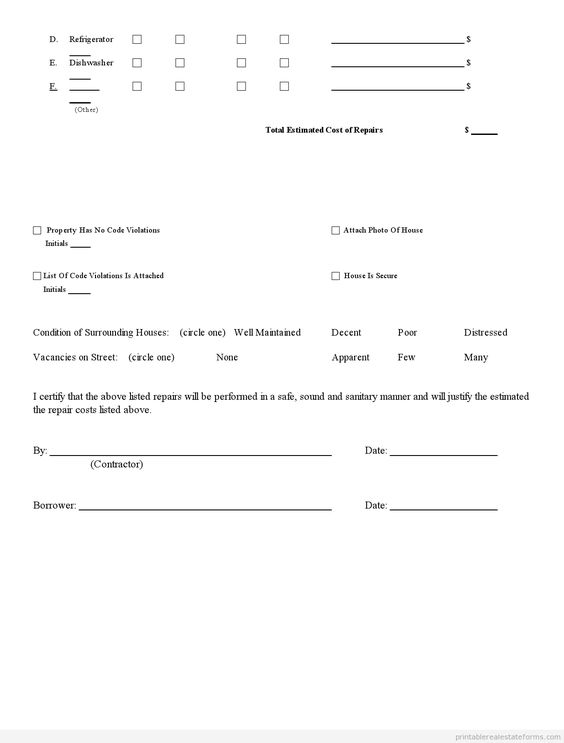 Printable Sample Investment Property Inspection Report Form Realestate Forms Online For Free