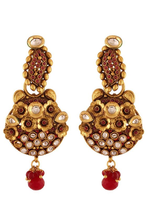 Red Gold Plated Austrian Diamond Earrings