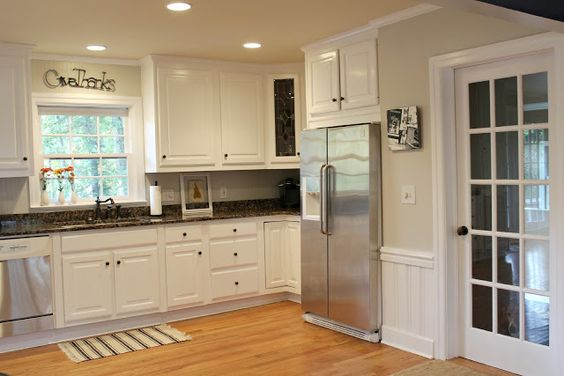 Behr kitchen makeovers and minerals on pinterest for Behr white paint for kitchen cabinets