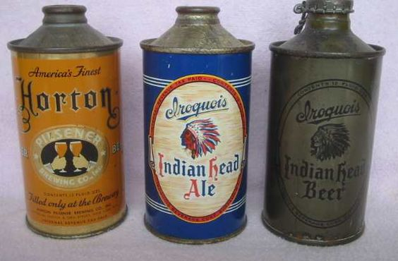 Cone top beer cans are grabbing my eye these days. I love the design of the Iroquois Indian Head can