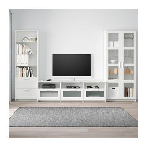 Brimnes Combinaison Rangt Tv Vitrines Blanc 320x41x190 Cm