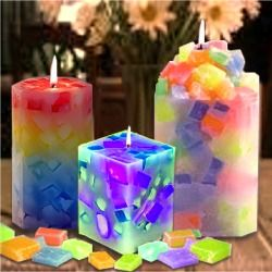 Chunk candles..melt wax, pour onto cookie sheet, while still warm, cut into chunks. Place chunks inside candle form, add melted wax to adhere chunks together. Analagous colors best.