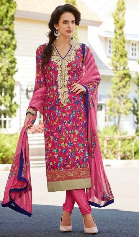 Fuchsia Bhagalpuri Silk Printed Churidar Suit Hangout with friends