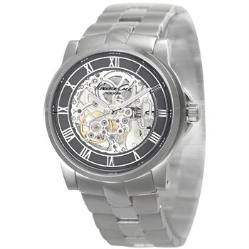$150 Kenneth Cole New York Automatic Gunmetal Skeleton Dial Stainless Steel Bracelet