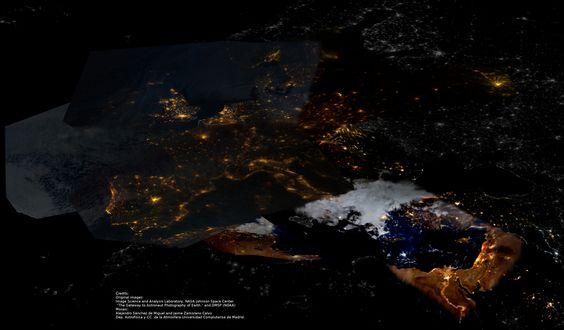 GUAIX: La contaminación lumínica desde el espacio: Europa, Oriente próximo y Estados Unidos