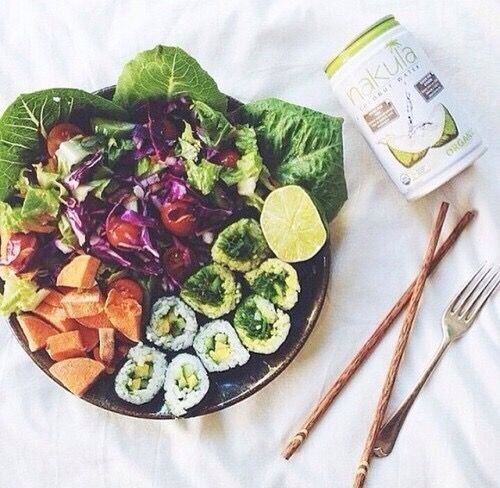 California rolls and salad.
