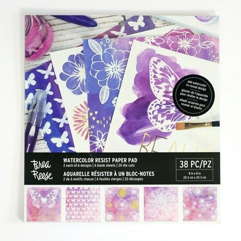 Brea Reese 38pc Watercolor Resist Paper Pad Brea Reese Resist