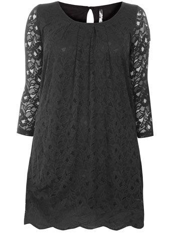 Black Lace Tunic Top