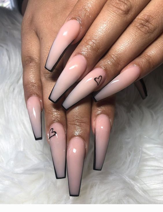 Black Contour For Pink Coffin Nails Coolladies Net In 2020 Long Acrylic Nails Pretty Acrylic Nails Coffin Nails Designs