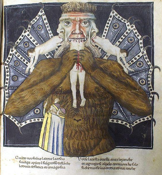Luzifer quält die drei Verräter Judas, Brutus und Cassius. (Codex Altonensis, ex Bibliotheca Gymnasii Altonani, Hamburg) Erinnert auch an Kronos und wird von manchen so gedeutet.