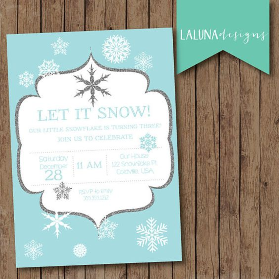 Winter Birthday Invitation Snowflake Birthday Invitation – Snowflake Birthday Invitations