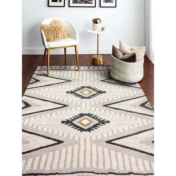 Inmerse Yourself In Soft Fruffy Polypropylene Shag Fun Moroccan Patterns Are Power Loomed In Bold Graphic De In 2020 Black Area Rugs Aztec Rug Living Room Area Rugs