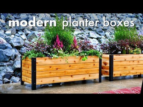 I Built These Simple Yet Beautiful Modern Planter Boxes Using Cedar From The Home Center And A Raised Planter Boxes Wooden Planter Boxes Diy Planter Box Plans