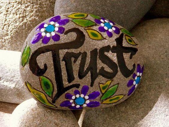 Trust / Painted Rock / Sandi Pike Foundas / Cape Cod Sea Stone