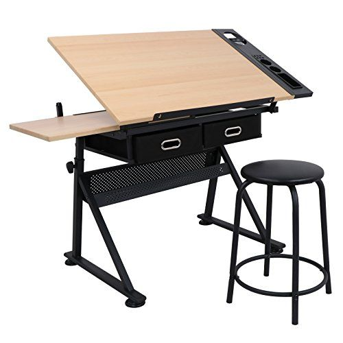 Tilt Drawing Desk Table Stool Set Drawer Architect Art Drafting Office Furniture Drawing Table Drawing Desk Office Workstations