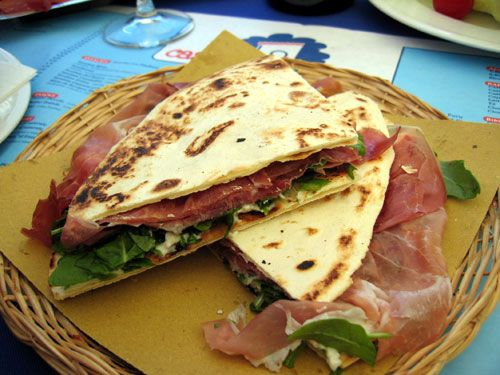 PIADINA: with Prosciutto di Parma, Mozzarella & Arugula. One of my favourite things to eat in Cattolica RN