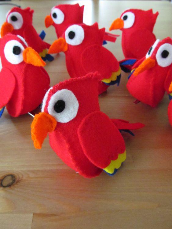 Felt Parrots - Pirate Party - Fancy Dress - Pirates