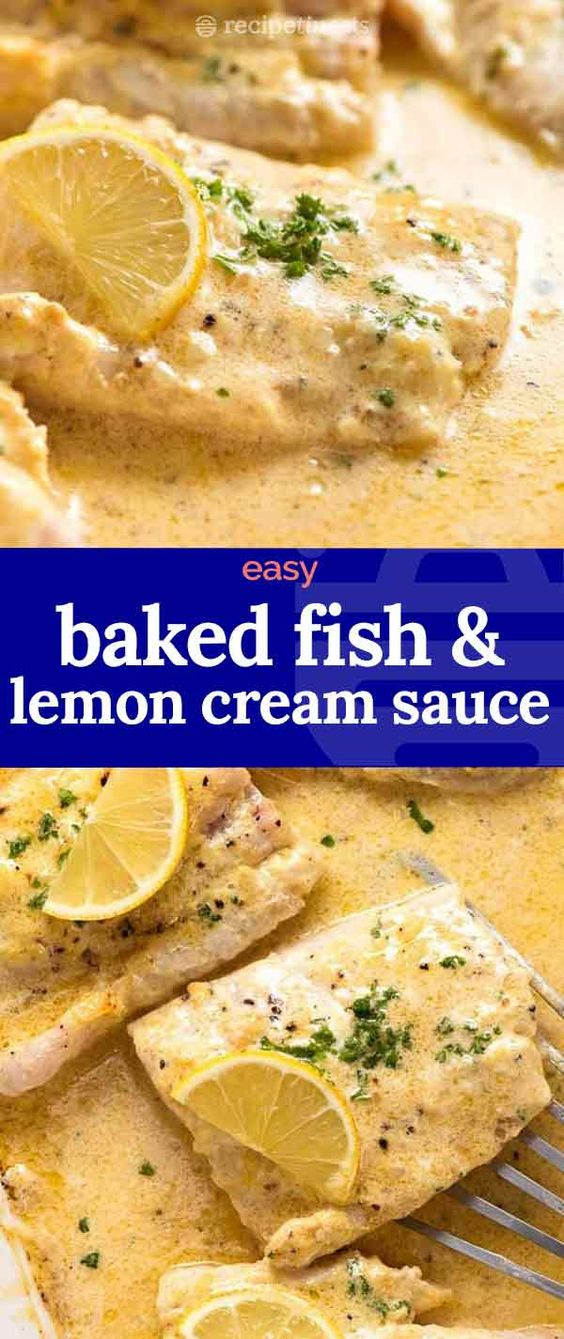 Baked Fish with Lemon Cream Sauce