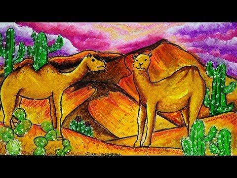 Cara Menggambar Tema Pemandangan Padang Gurun Pasir Unta Youtube Cara Menggambar Warna Jerapah