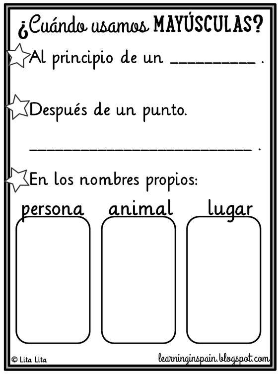 Área: Escritura (Mayúsculas) Objetivo: Que el niño aprenda el uso de mayúsculas Estrategia: Reglas Actividad: El terapeuta le explicará al niño a través de una hoja de estímulo, las reglas principales del uso de mayúsculas  Material: Hoja de estímulo Tiempo: 15