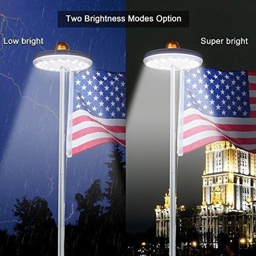 Solar Flag Pole Light 32 Led Flagpole Lights Waterproof 3600mah