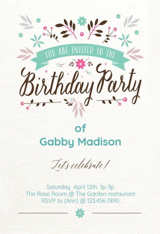 Flat Floral Birthday Invitation Template Free Greetings Island Printable Birthday Invitations Free Printable Birthday Invitations Party Invitations Printable