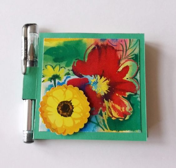 Post It Holder & Pen Set, Red Yellow Flowers, Sticky Notes and Pen Set. $5.00, via Etsy.