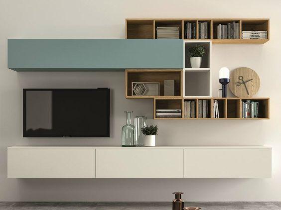 Mueble modular de pared composable slim 100 colecci n slim - Muebles tv diseno ...