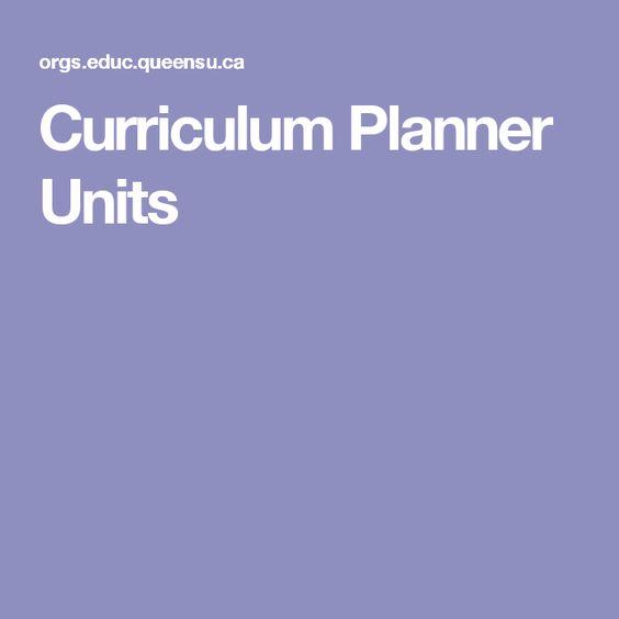 Curriculum Planner Units