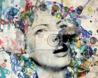Fotomural Chica Acuarela huele una rosa