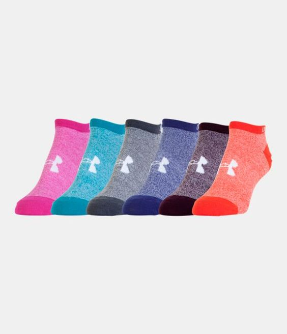 Women's UA Big Logo No-Show Socks 6-Pack, Assorted
