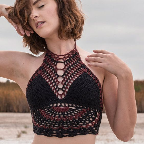 Crochet Festival Top - Anahata High Neck Top. Russet Black. Hippie. Halter Top. Crochet Bikini. Hooping. Tribal. Burning Man. Gypsy. Warrior