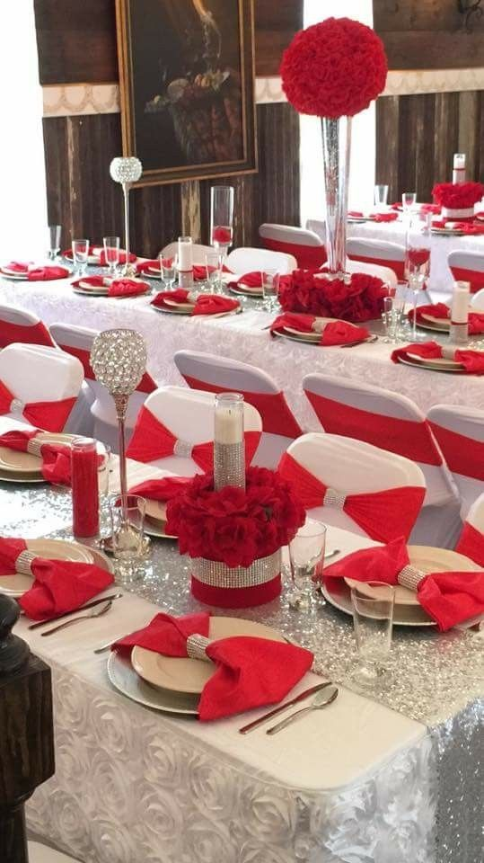 Red White And Bling Wedding Reception Ideas Red And White Wedding Decorations White Wedding Decorations Wedding Table Decorations
