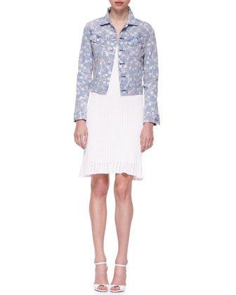 Mason Printed Denim Trucker Jacket & Short-Sleeve Engineered Mesh Knit Sheath Dress by Ralph Lauren Black Label at Neiman Marcus.